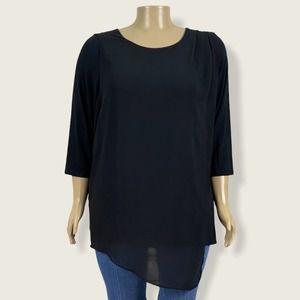 Halston Knit Top Asymmetric Chiffon Overlay Shirt